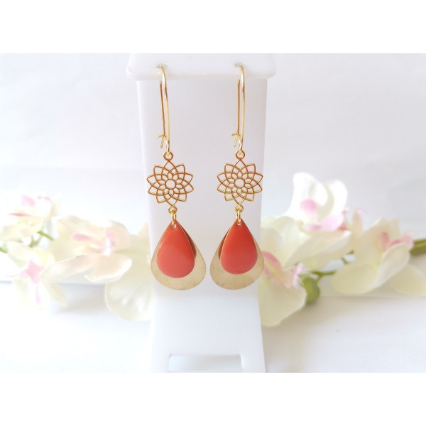 Kit boucles d'oreilles pendentifs dorés et émail orange - Photo n°1