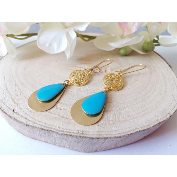 Kit boucles d'oreilles pendentifs dorés et émail bleu - Photo n°2