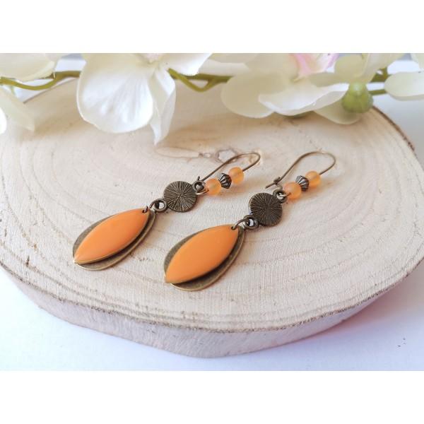 Kit boucles d'oreilles pendentifs bronzes et sequin émail orange - Photo n°1