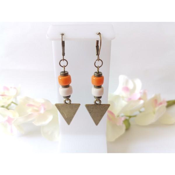 Kit boucles d'oreilles pendentifs bronzes triangle et perles en verre colonne - Photo n°1