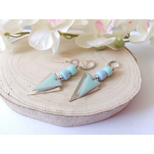 Kit boucles d'oreilles pendentifs argent mat triangle et perles en verre colonne bleue - Photo n°2