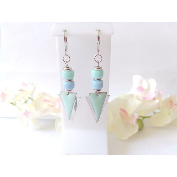 Kit boucles d'oreilles pendentifs argent mat triangle et perles en verre colonne bleue - Photo n°1