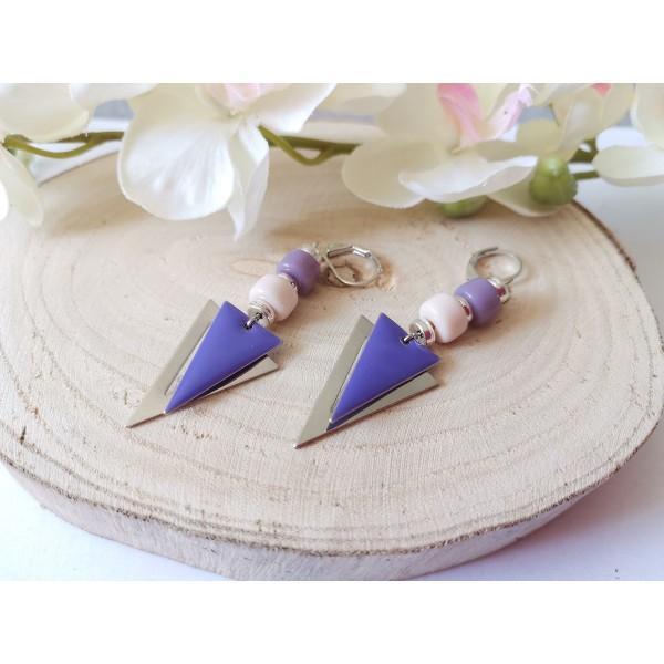 Kit boucles d'oreilles pendentifs argent mat triangle et perles en verre colonne mauve - Photo n°2
