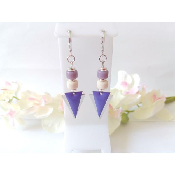 Kit boucles d'oreilles pendentifs argent mat triangle et perles en verre colonne mauve - Photo n°1
