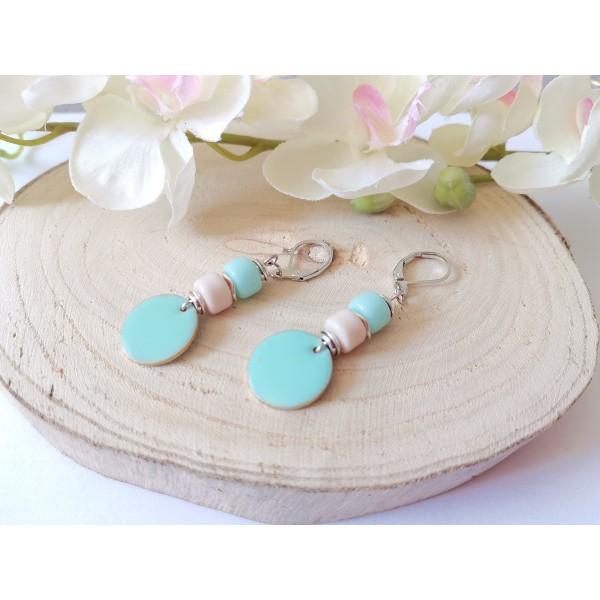 Kit boucles d'oreilles sequin émail rond bleu vert et perles en verre colonne - Photo n°2