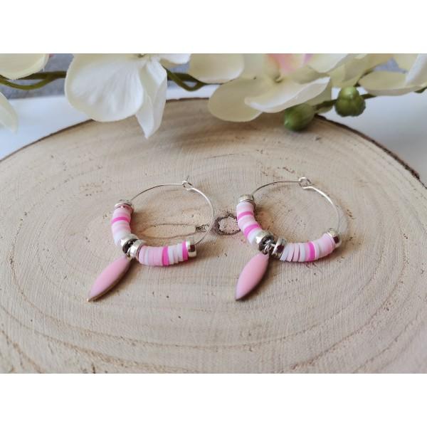 Kit boucles d'oreilles créoles et perles Heishi blanches et roses - Photo n°3