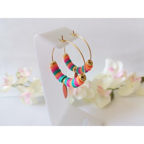 Kit boucles d'oreilles créoles et perles Heishi tricolores - Photo n°2
