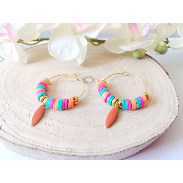 Kit boucles d'oreilles créoles et perles Heishi tricolores - Photo n°3