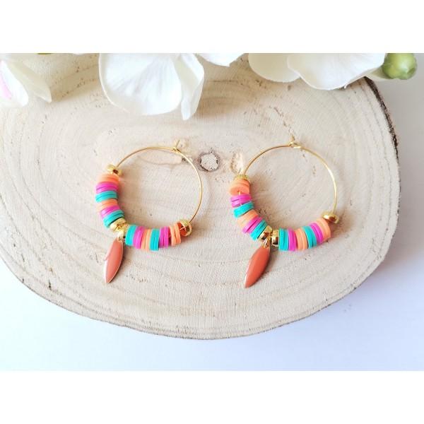 Kit boucles d'oreilles créoles et perles Heishi tricolores - Photo n°4