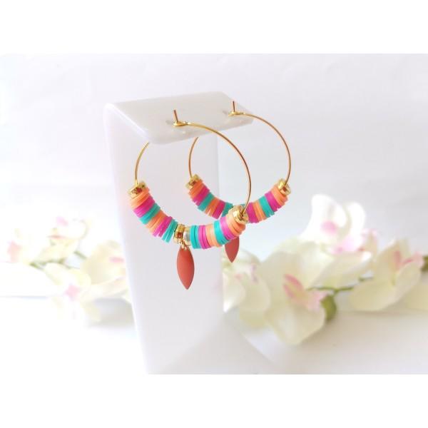Kit boucles d'oreilles créoles et perles Heishi tricolores - Photo n°1