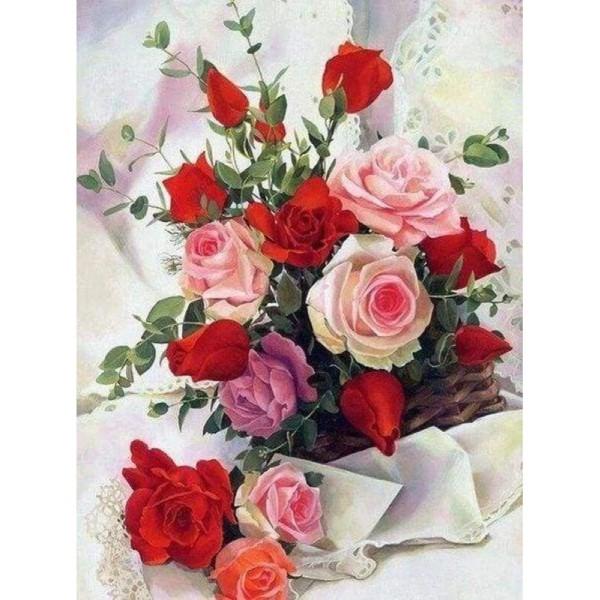 Broderie Diamant - Roses Belles Fleurs 40X50cm - Photo n°1