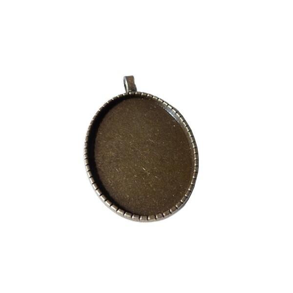 5 médailles support cabochon métal bronze 51 x 31 mm OVALE - Photo n°1