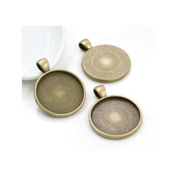 5 médailles support cabochon métal bronze 41 x 31 mm RONDE - Photo n°1