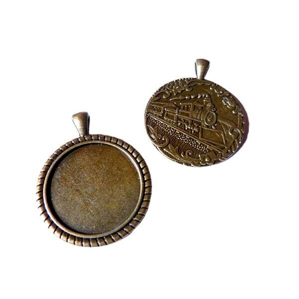 2 médailles support cabochon métal bronze 47 x 37 mm ronde LOCOMOTIVE - Photo n°1