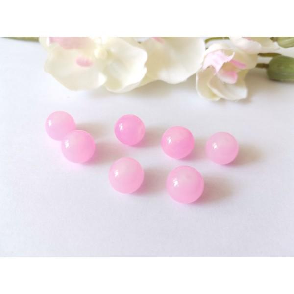 Perles en verre imitation jade 10 mm rose x 10 - Photo n°1