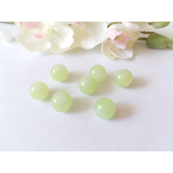 Perles en verre imitation jade 10 mm vert pale x 10 - Photo n°1