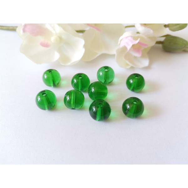 Perles en verre transparente 10 mm vert foncé x 10 - Photo n°1
