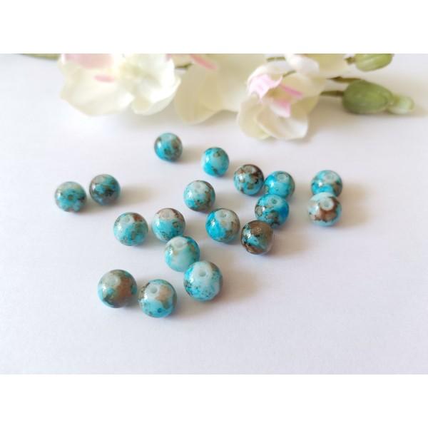 Perles en verre 8 mm bleu taches marrons x 20 - Photo n°1