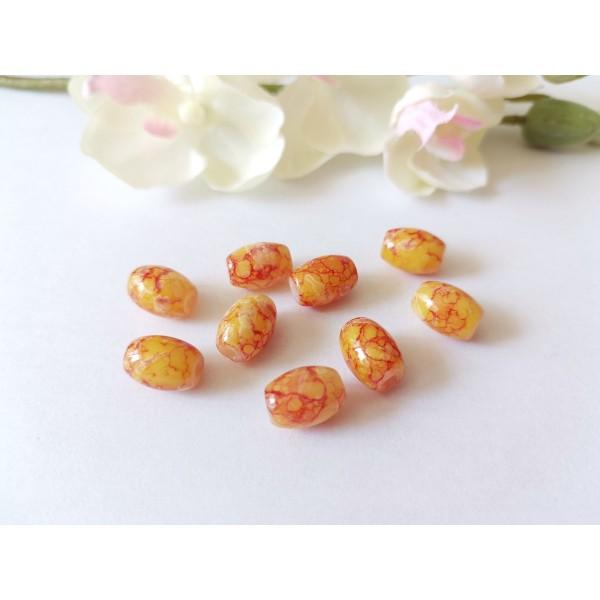 Perles en verre 12 x 8 mm jaune tréfilé orange x 10 - Photo n°1
