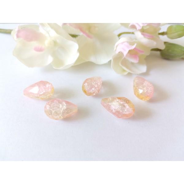 Perles en verre goutte rose orange x 5 - Photo n°1