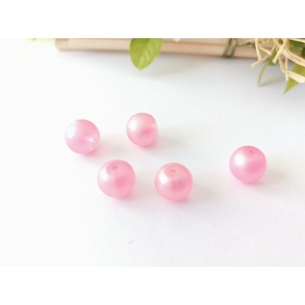 Perles en verre 10 mm dépoli rose x 9 - Photo n°1