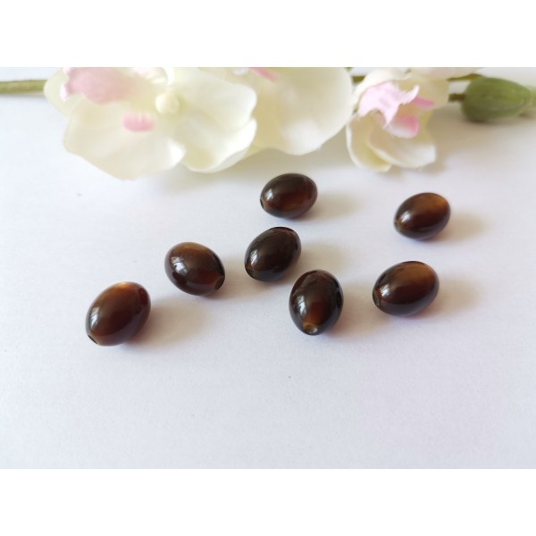 Perles en verre olive 12 x 8 mm marron x 9 - Photo n°1