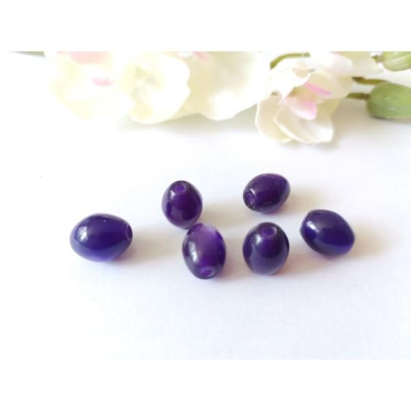 Perles en verre olive 12 x 8 mm violette x 8 - Photo n°1