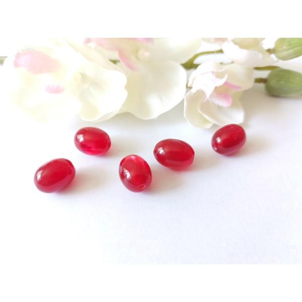 Perles en verre olive 12 x 8 mm rouge x 10 - Photo n°1