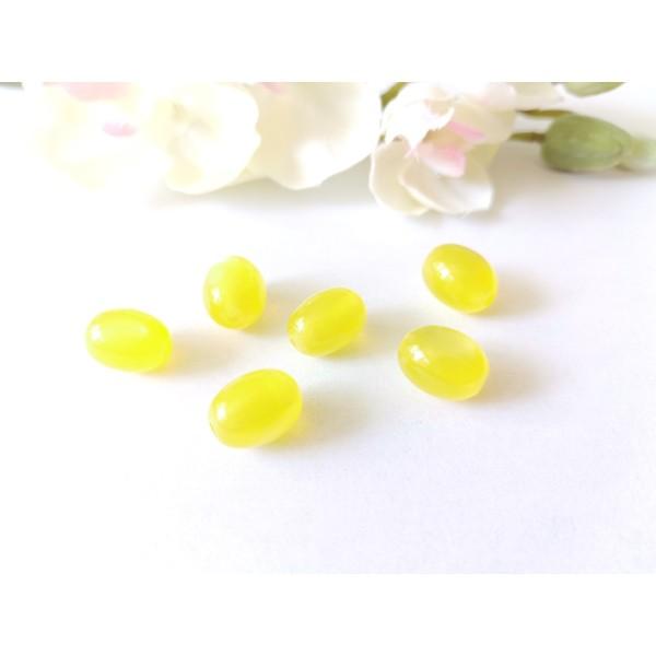 Perles en verre olive 12 x 8 mm jaune x 10 - Photo n°1