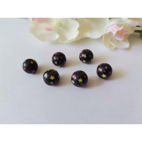 Perles résine 10 mm noires motif étoile x 10 - Photo n°1