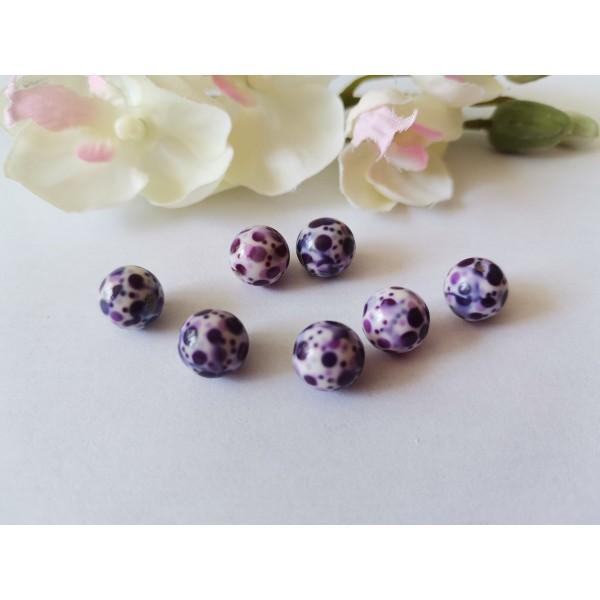 Perles résine 10 mm blanches taches violettes x 10 - Photo n°1