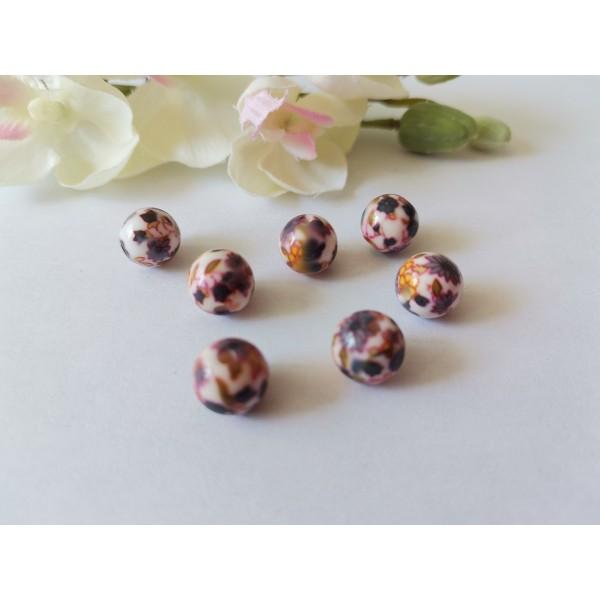 Perles résine 10 mm blanches motif fleurs x 12 - Photo n°1