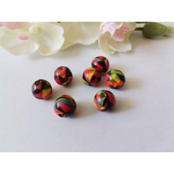 Perles résine 10 mm multicolores x 12 - Photo n°1