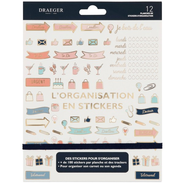 Stickers Organisation pour Bullet Journal - 12 planches - Photo n°1