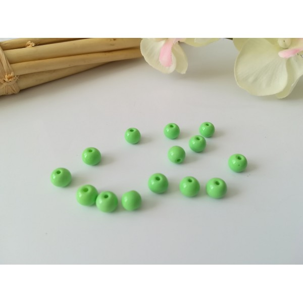 Perles en verre ronde 6 mm vert api x 25 - Photo n°2