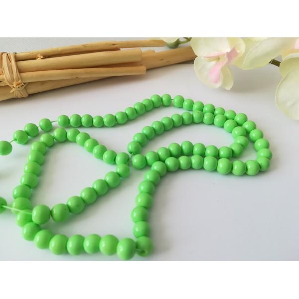 Perles en verre ronde 6 mm vert api x 25 - Photo n°1