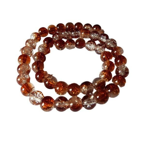 Fil de 48 perles ronde en verre craquelé deux couleurs 8 mm CRISTAL MARRON - Photo n°1