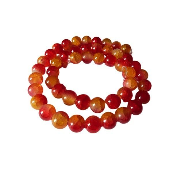 Fil de 48 perles ronde en verre craquelé deux couleurs 8 mm ORANGE ROUGE - Photo n°1