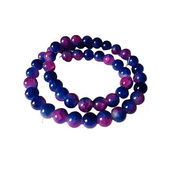 Fil de 48 perles ronde en verre craquelé deux couleurs 8 mm BLEU FUSCHIA - Photo n°1