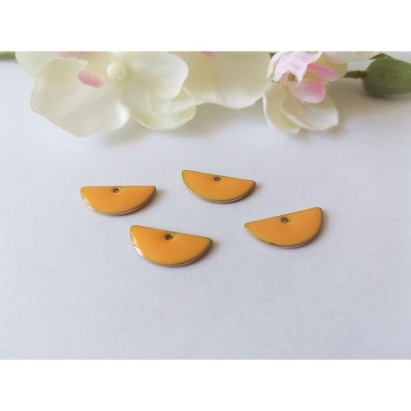 Breloque sequins émail demi rond 18 mm orange clair x 2 - Photo n°1