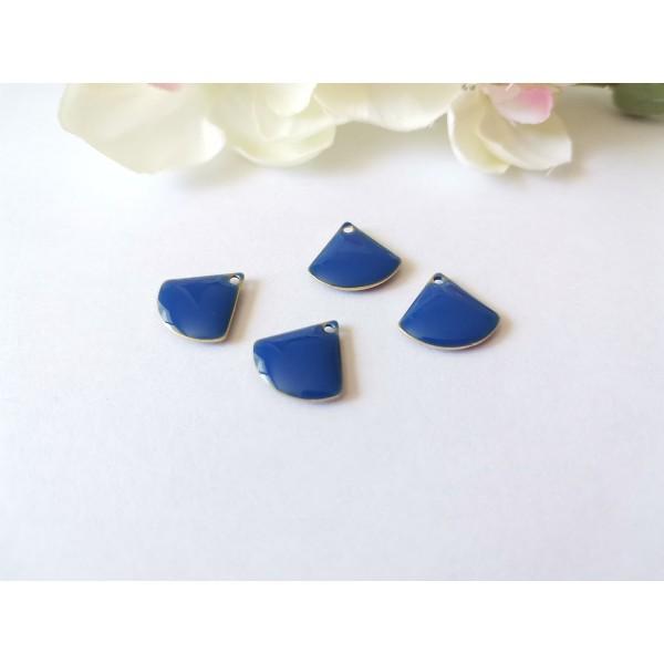 Breloque sequin émail triangle 13 mm bleu marine x 2 - Photo n°1
