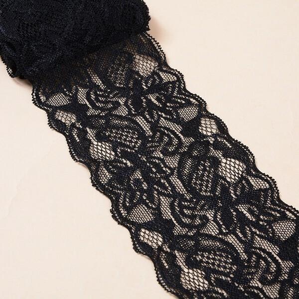 2 m de ruban dentelle galon polyester 8 cm NOIR L52862 - Photo n°1