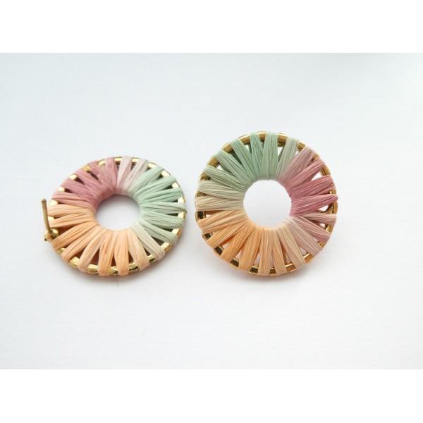 Paire boucles d'oreilles puce rond 28mm en raphia vert/rose/orange - Photo n°1