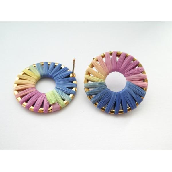 Paire boucles d'oreilles puce rond 28mm en raphia Bleu/rose/jaune - Photo n°1