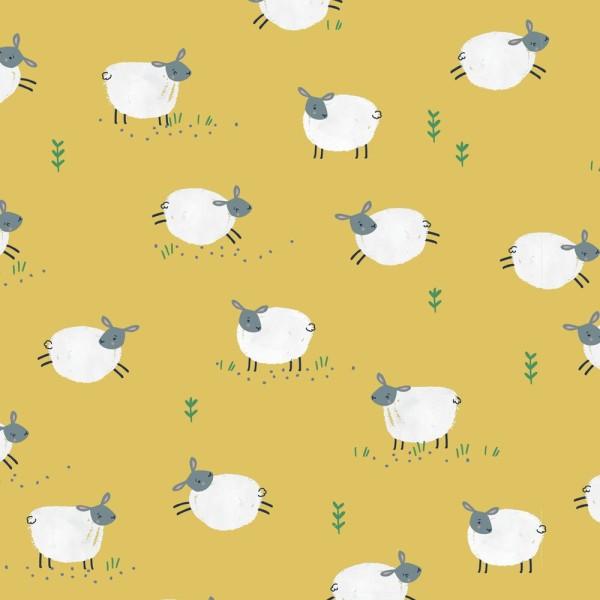 Tissu quilting Dashwood studio - FARM DAYS - moutons - coton - 10cm/laize - Photo n°1