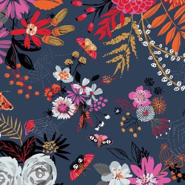Tissu quilting Dashwood studio - FULL MOON - fleurs et papillons - coton - 10cm/laize - Photo n°1