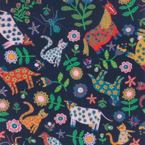 Tissu Liberty of london - FOLK TAILS - animaux multicolore - coton - 10cm / laize - Photo n°1