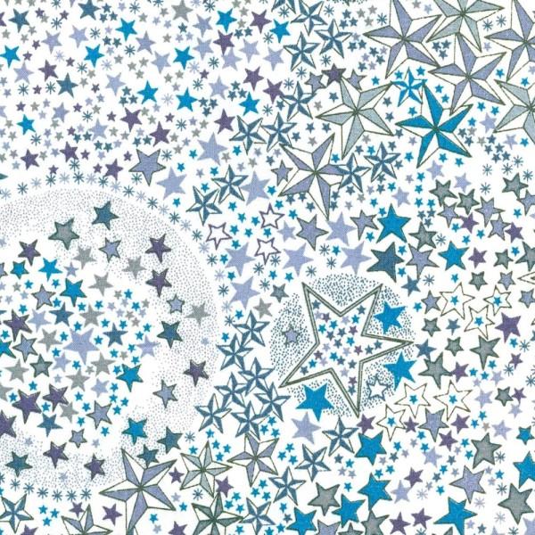 Tissu Liberty of london - ADELAJDA - étoiles bleu - coton - 10cm / laize - Photo n°1