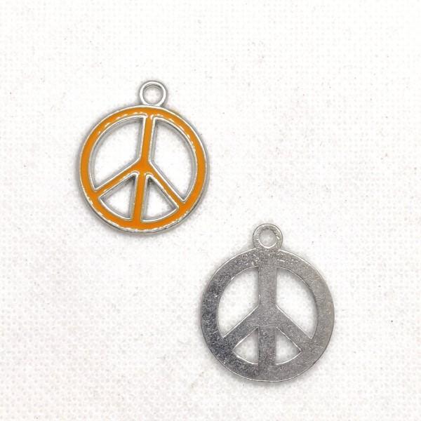 1 Breloque peace and love - métal et email jaune orangé - 24x29mm – b153 - Photo n°1