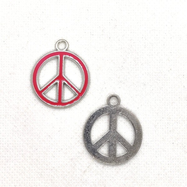 1 Breloque peace and love - métal et email fushia - 24x29mm - b154 - Photo n°1